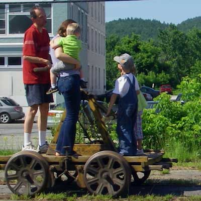 family on rail handcar
