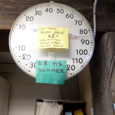 thermometer with notes written on it