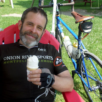 biker with ice cream