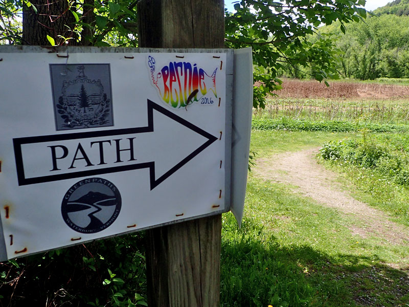 Path sign with Bernie 2016 sticker